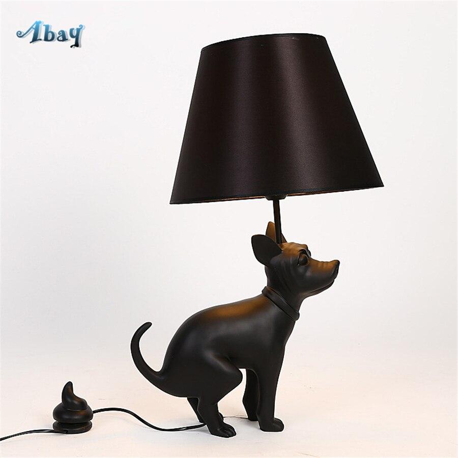 Milan Design résine fier chiot lampes de Table pour salon Art déco étude chambre lampe debout bureau noir chien lampe de chevet
