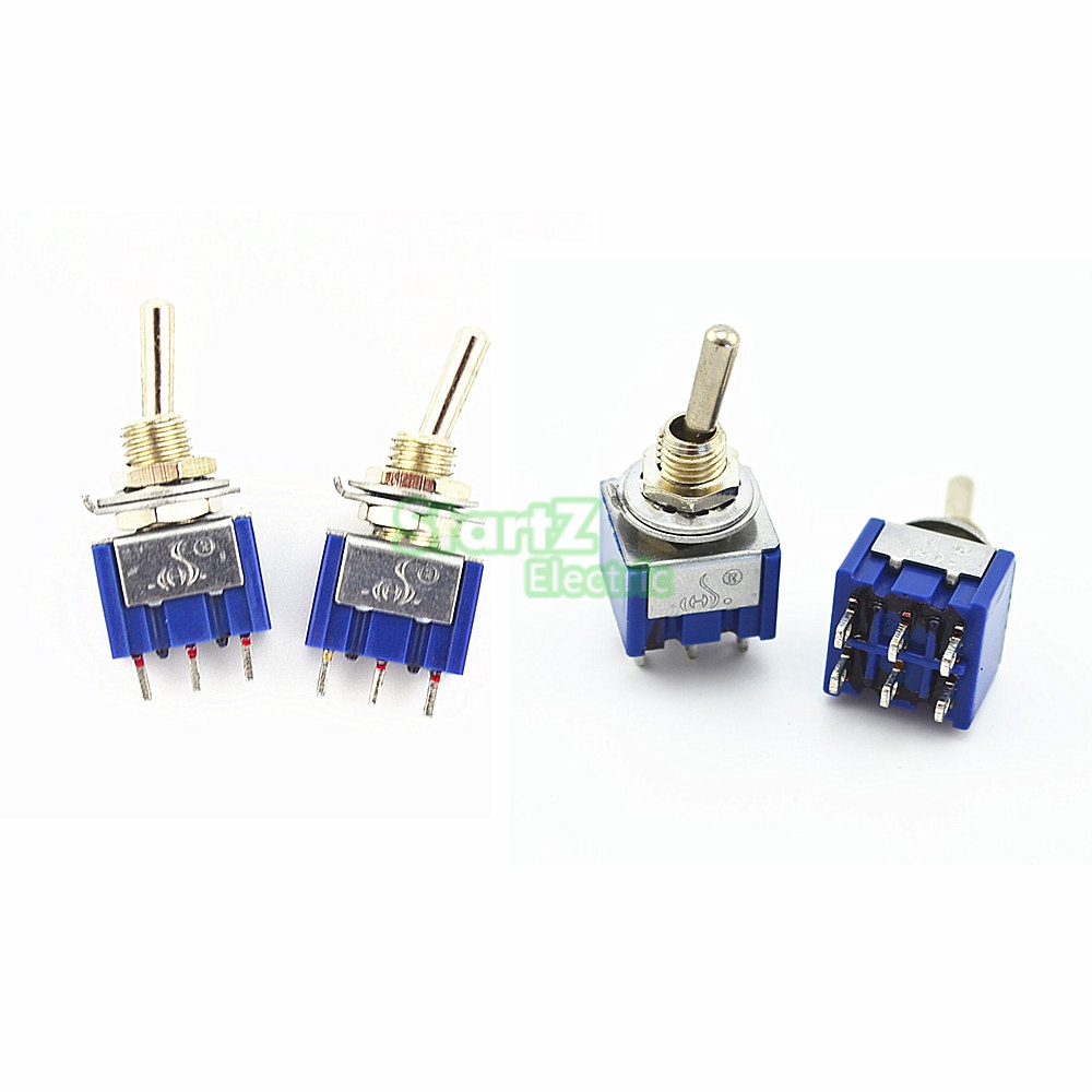 10Pcs High quality Blue ON-ON / ON-OFF-ON Latching Mini Toggle Switch AC 125V/6A 250V/3A 5 x on off small toggle switch miniature spst 6mm ac250v 3a 120v 5a