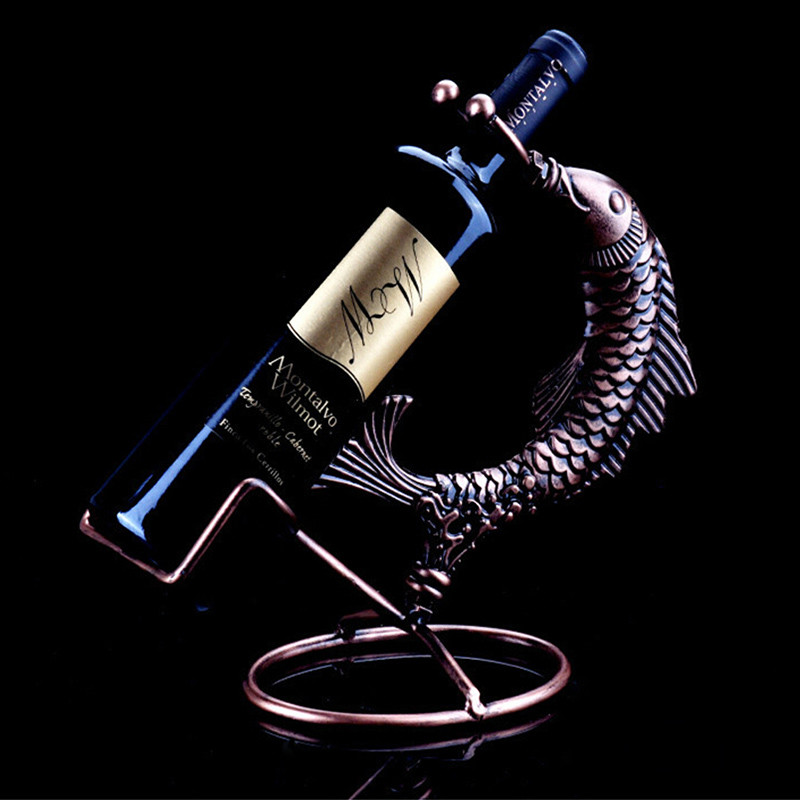 Single bottle wine holder detachable metal wine rack retro for Fish wine bottle