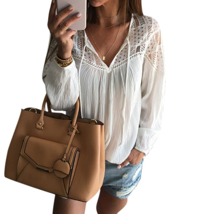 JAYCOSIN 2018 Blouses Women Sexy V Neck Lace Hollow Long Sleeve Thin Shirt Traveling Beach Blouse Tops j23