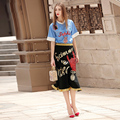 High quality New 2017 Women's Clothes Sets Sequined Letter Flower Embroidery Skirt suit