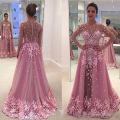 Vestidos de Fiesta Evening Gowns Sheer Crew Neckline Lace Appliques A Line Tulle Detachable Skirt Long Sleeve Prom Dresses 2017