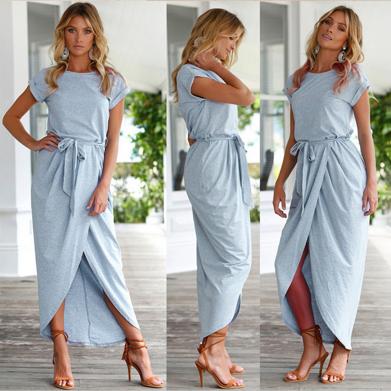 Summer 2019 Casual Short Sleeve Maxi Dress Vintage Loose Women Dress Beach Sexy Dress Fashion Elegant High Waist Long Dresses