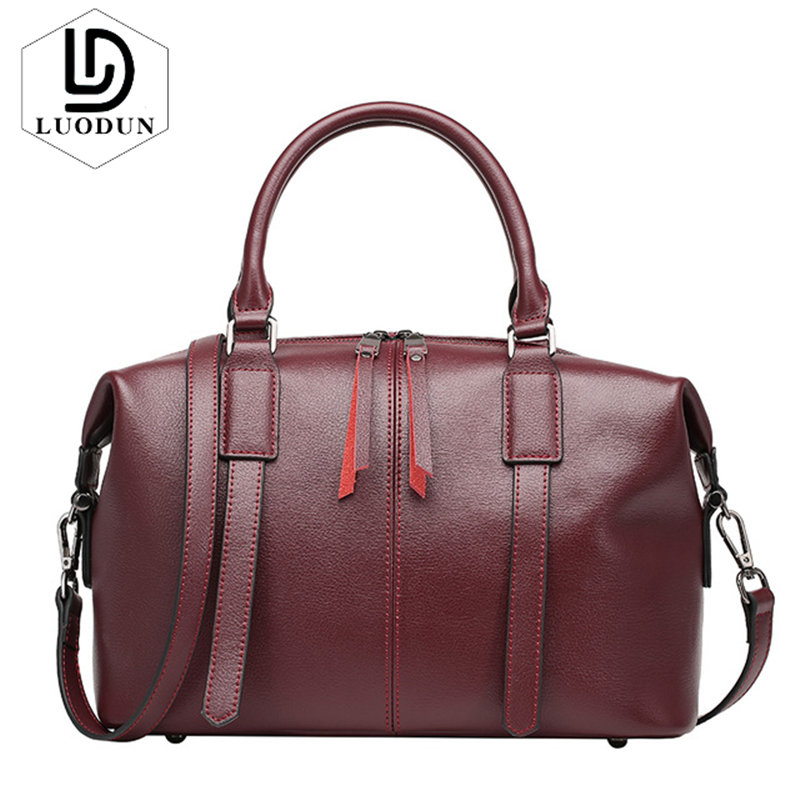 LUODUN New European and American Fashion Leather Handbag Boston Bag Shoulder Messenger Bag Women Crossbody Bag Female Big Tote whx new style casual fashion women tote bag crossbody bag female shoulder messenger bag leather cartoon cat bear sequin handbag