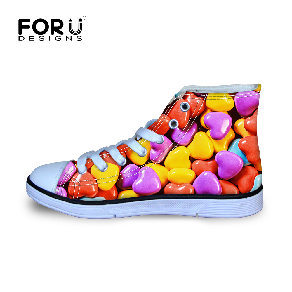 FORUDESIGNS Kids Shoes for Girls Children Canvas Shoes Sneakers High Heart-shaped Candy Colors Printing Sport shoe for Kids Gift uovo brand kids spring autumn new sport shoes for girls green color casual sneakers kids fashion canvas shoe zapatos eu 30 37