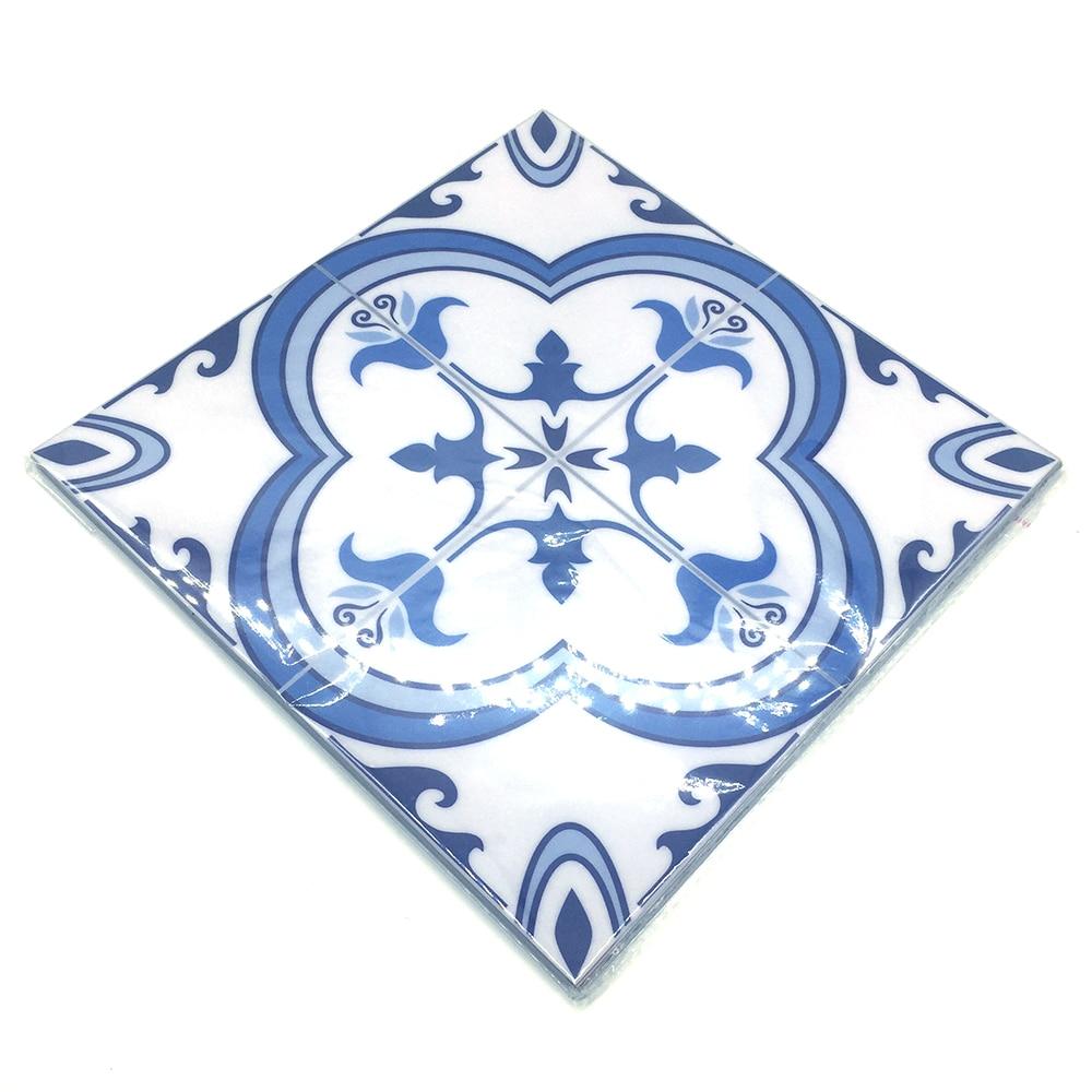Купить с кэшбэком Funlife CUSTOM 10/15/20/25/30cmBlue&Grey Mediterranean Geometry PVC Waterproof Self adhesive Kitchen Bathroom Tile Sticker TS059