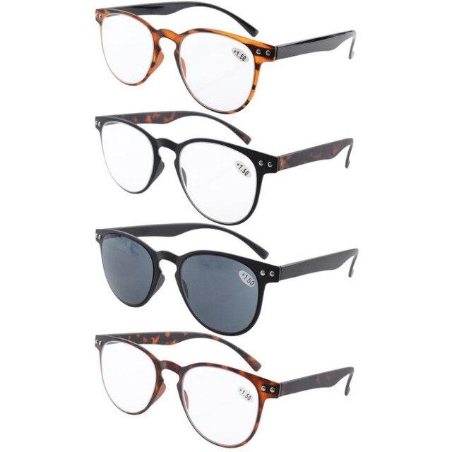 46d2704f65f R060 4-Pack Eyekepper Round Full Coverage Ultrathin Flex Frame Reading  Glasses Reading Sunglasses +