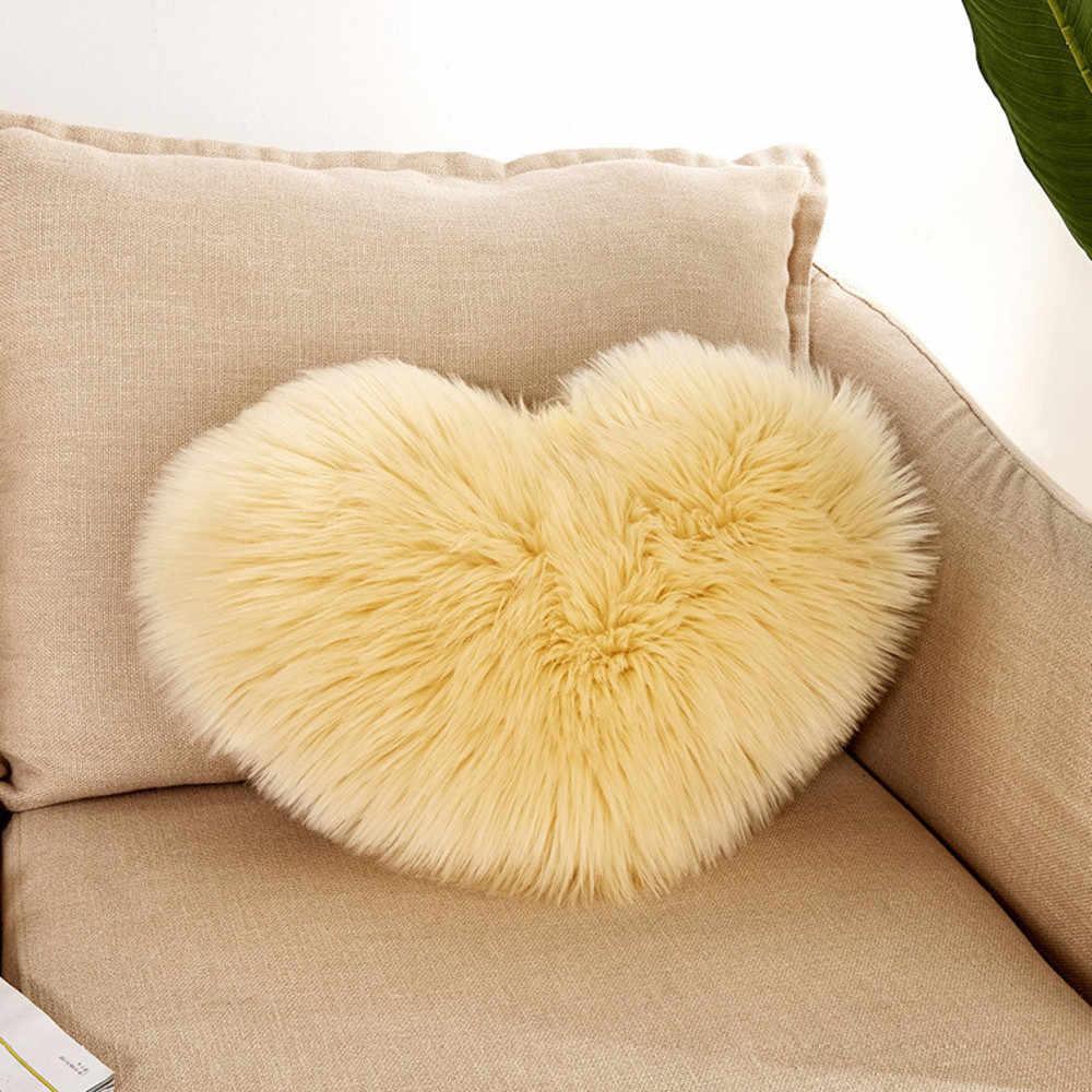 В форме сердца из искусственной шерсти меховая подушка охватывает пышная мягкая плюшевая Декоративная Подушка наволочка диван автомобиля Декор моющиеся O12