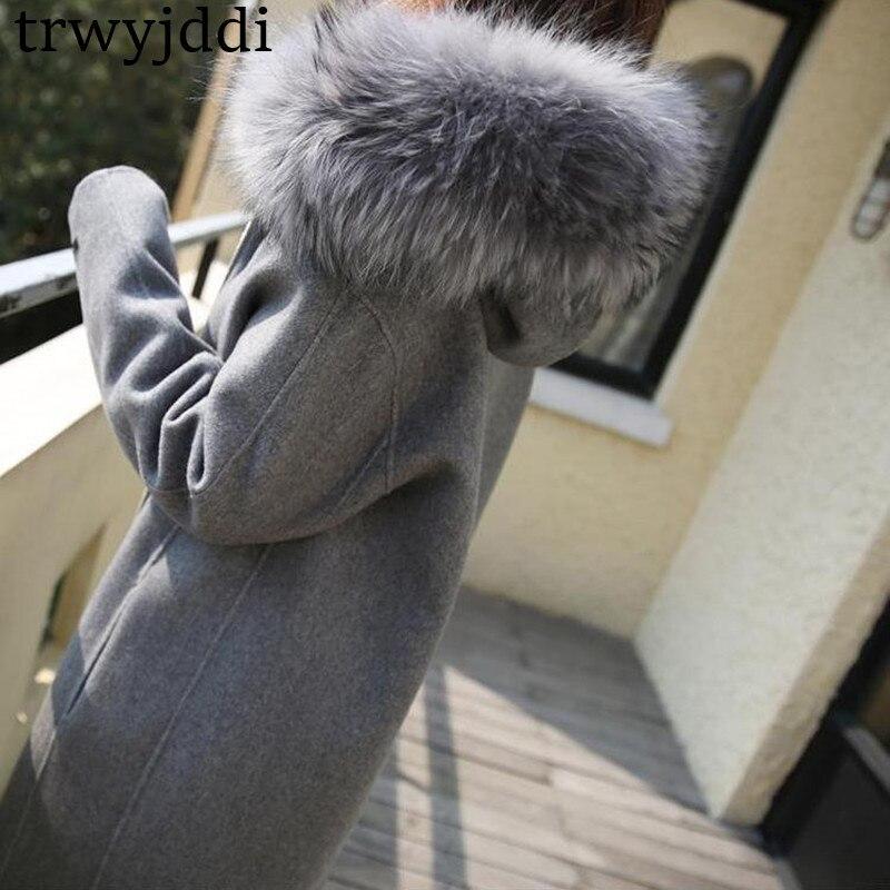 Épais Section Manches Laine A1604 À De Col Fourrure 2018 Gray Coréenne Hiver Femme Longues Grand Nouveau Longue Veste Zipper Manteau q6wxvP8Un