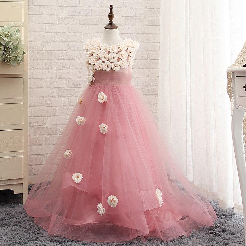 2017 Blush Pink Flower Girls Dresses For Weddings Ruffles