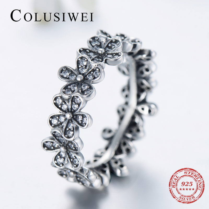 COLUSIWEI Clear CZ Stackable Wedding Shining Fashion Jewelry Authentic 100% 925 Sterling Silver Flowers Ring For Women Gift