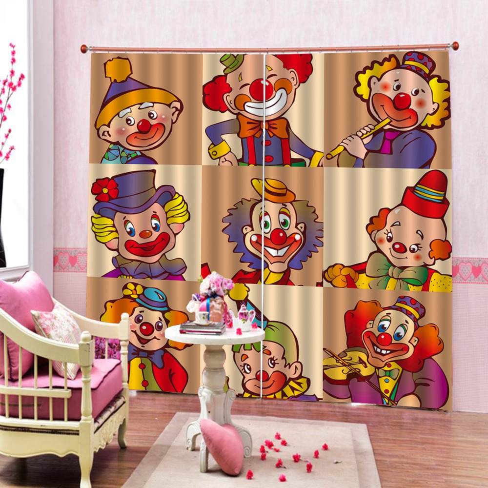 Customize Clown show 3D Curtains For The Bedroom Kitchen Modern Window Living Room Blackout CurtainsCustomize Clown show 3D Curtains For The Bedroom Kitchen Modern Window Living Room Blackout Curtains