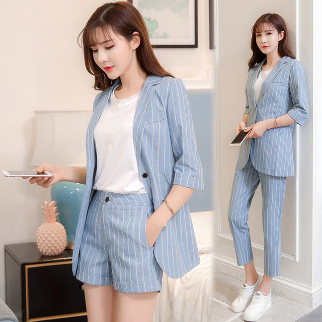 b17e2b92a4 Casual Fashion Cotton And Linen Striped Blazer Shorts Set Elegant Classical  Two Piece Set Top And Pants Thin Women's Summer Suit