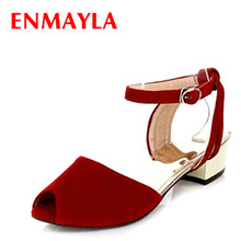 ENMAYER Blue, red, green Free shipping  NEW summer arrive fashion sweet wedges women sandals woman summer shoes shofoo shoes sweet fashion free shipping multicolored leather 15 cm wedges sandals women s sandals size 34 45