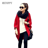 New Women Loose Shawl Batwing Sleeves Lady Knit Sweater Coat Woolen Female Cardigans Red Black Free