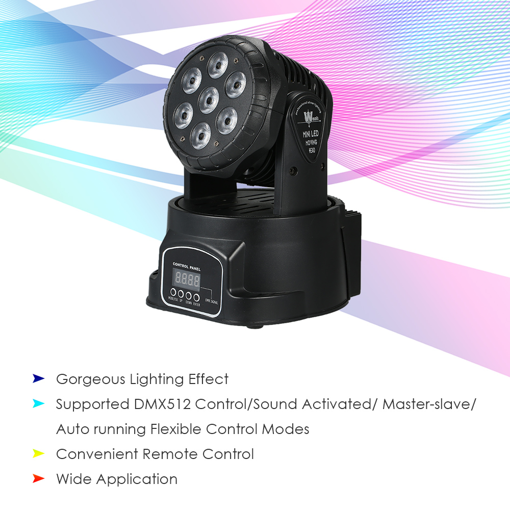 DMX512 105W 7LED RGBW LED Moving Head Stage Light Wedding Christmas Disco Dj Stage Lighting Effect