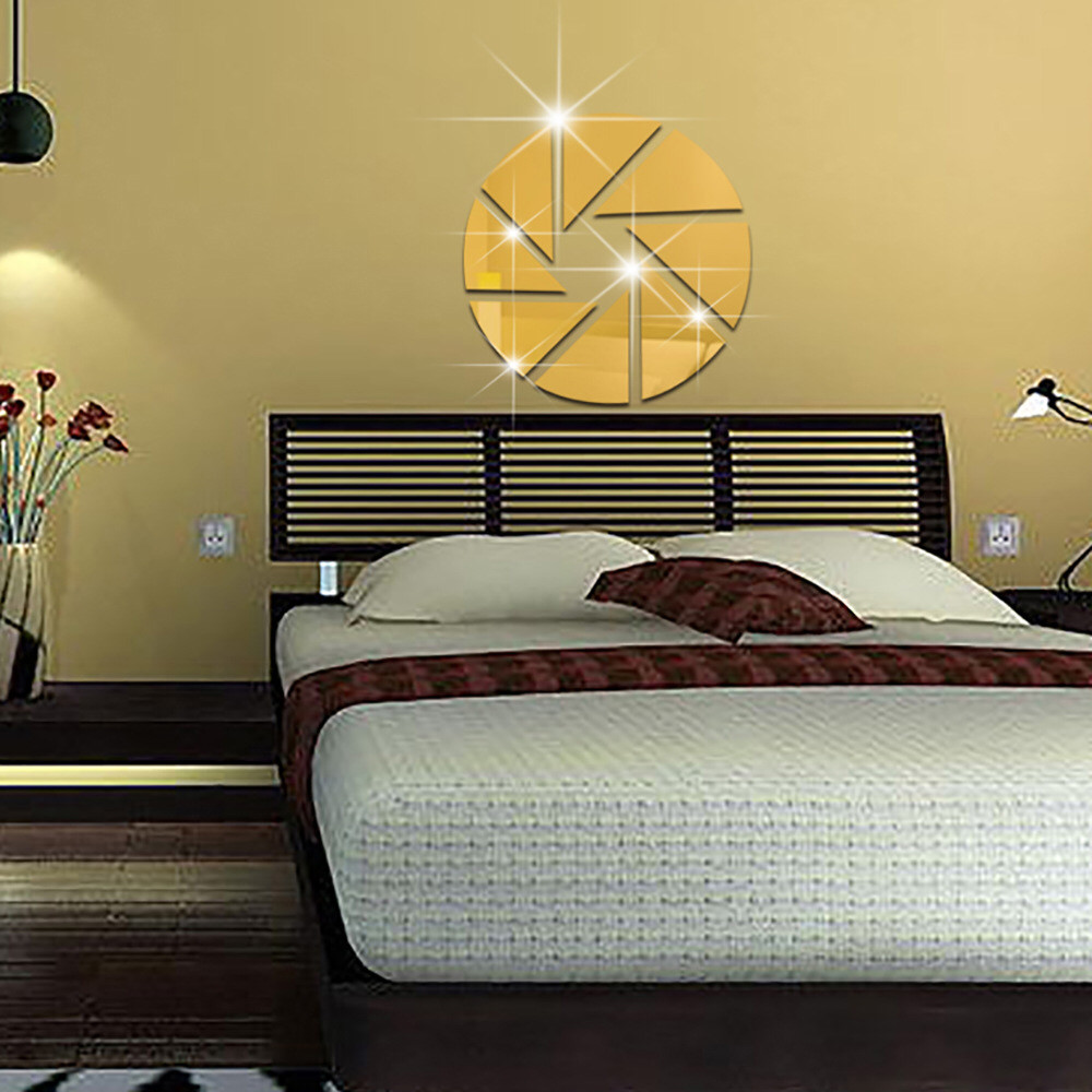 triangular bedroom mirror background stickers wall mirrored marriage sofa decorative pattern living tv
