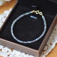 Natrual Shining Labradorite 2-3mm Faceted Beads 925 sterling silver Fashion Bracelet 7''-8''