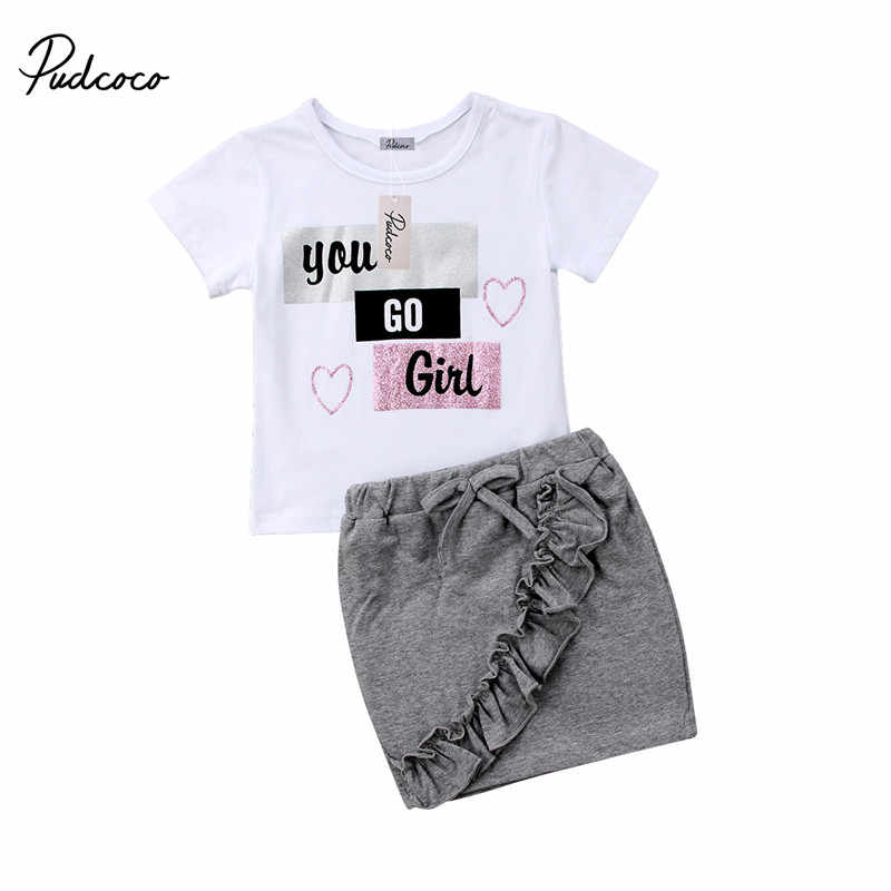 8fca42bba93 Detail Feedback Questions about 2018 New Korean Style Summer Fashion Kids  Girls Clothes White T shirt Tops Ruffles Pencil Skirts Outfits Children  Clothing ...