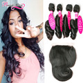7A Cheap Brazilian Virgin Hair With Closure Brazilian Loose Wave 4 Bundles With Closure Loose Wave Virgin Hair With Lace Closure