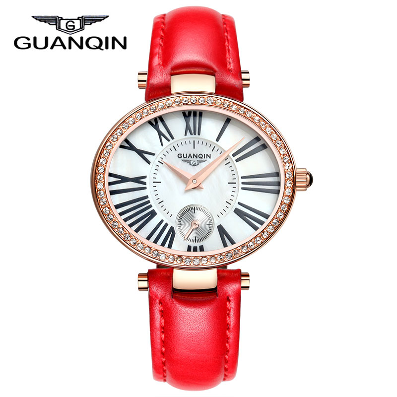 цена на 2015 new fashion Watches women Luxury Brand GUANQIN Genuine Leather Strap Casual Waterproof Watch relogio masculino
