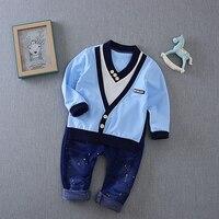 Spring Autumn Baby Boys V Neck Patchowrk Blouse Tops Casual Denim Jeans Pants 2Pcs Suits Kids
