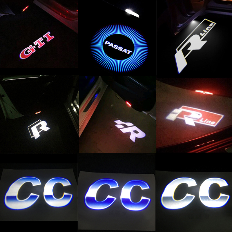 2x Car LED Door Warning Light For VW Golf 5 6 7 Jetta MK5 MK6 CC Tiguan Passat B6 b7 Scirocco New Touareg R line GTI Passat 1 pc 3d chrome r r line badge logo emblem rline car stickers racing for vw golf 5 6 7 touareg tiguan passat b6 b7 jetta sharan