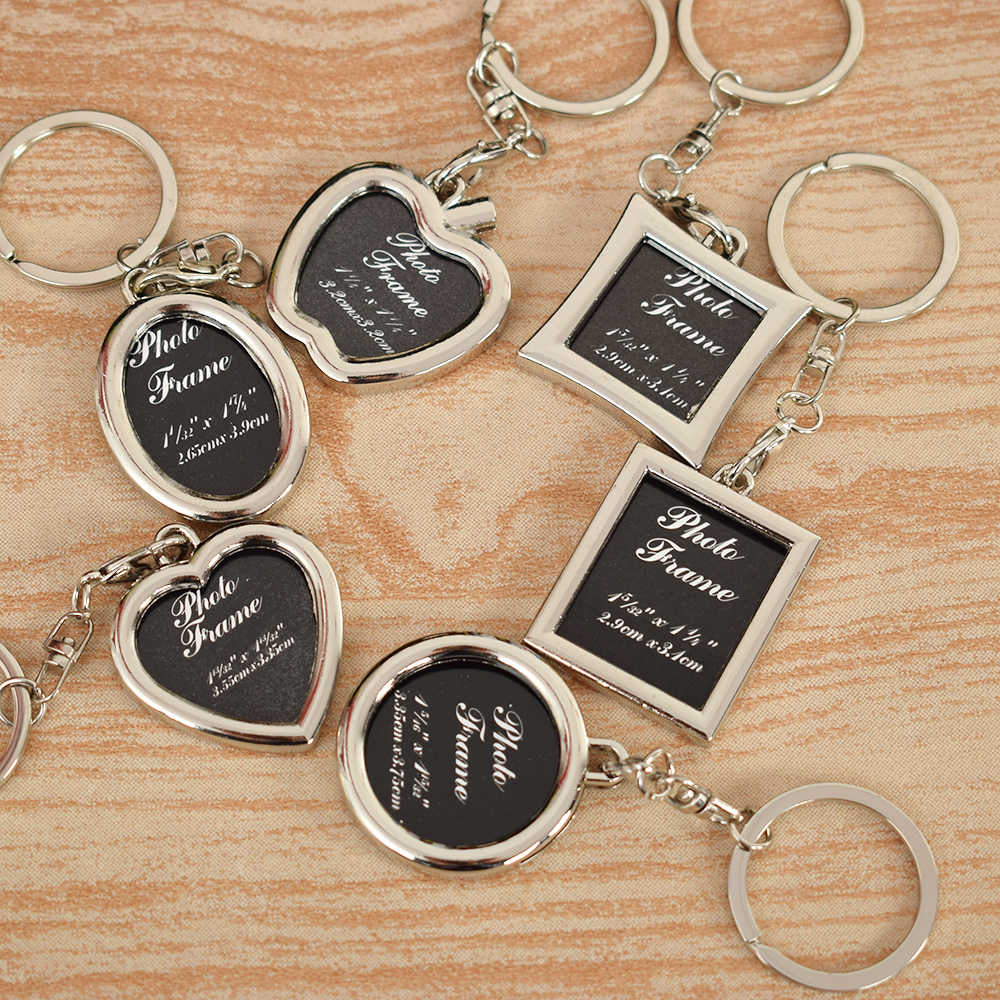 1PC Creative Metal Alloy Insert Photo Picture Frame Keyring Keychain Fob Love Gift