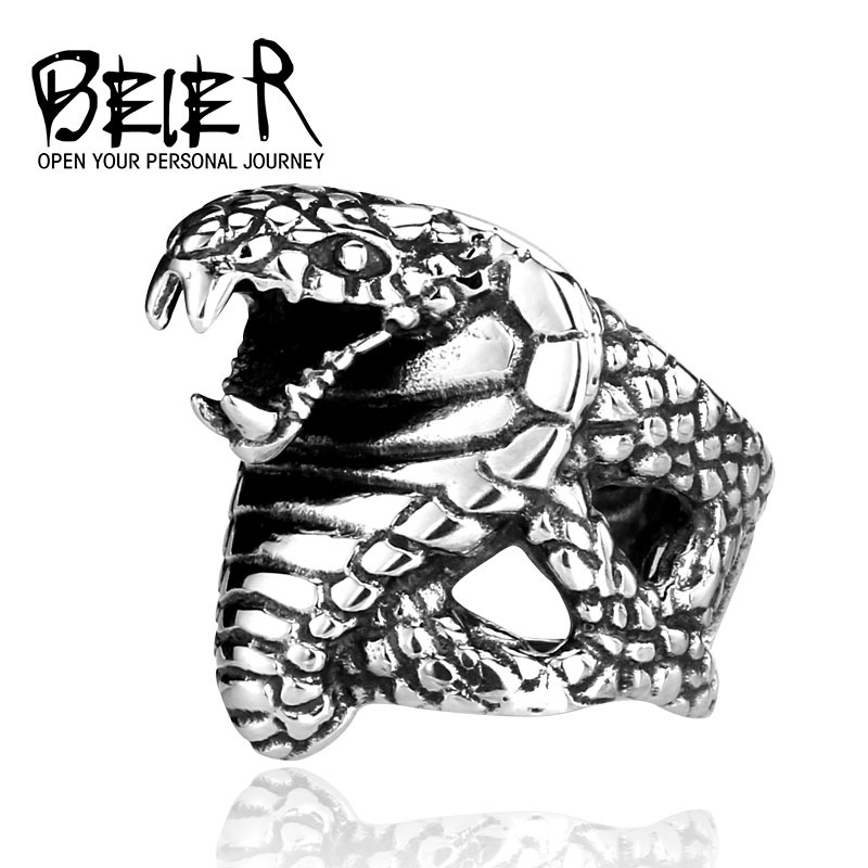 BEIER Cool Cobra Snake For Man 316L Stainless Steel Men's Unique Punk Ring Factory Wholesale Price Animal Jewerly BR8-086