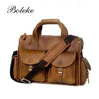 Men Genuine Leather Messenger Shoulder Bag Vintage Envelop Male Vegetable Tanned Leather Briefcase Crossbody Tote Bag