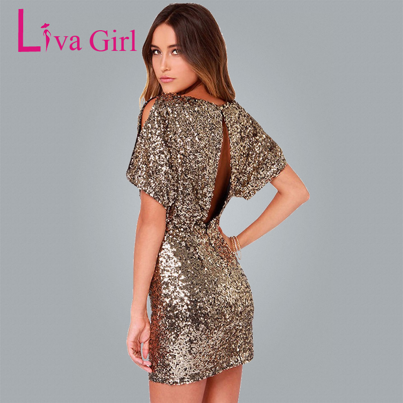 Liva Girl Gold Sequins Lantern Short Sleeve Elegant Party Dress 2018 Summer Women Mini Dress Hollow Out Plus Size Short Dresses