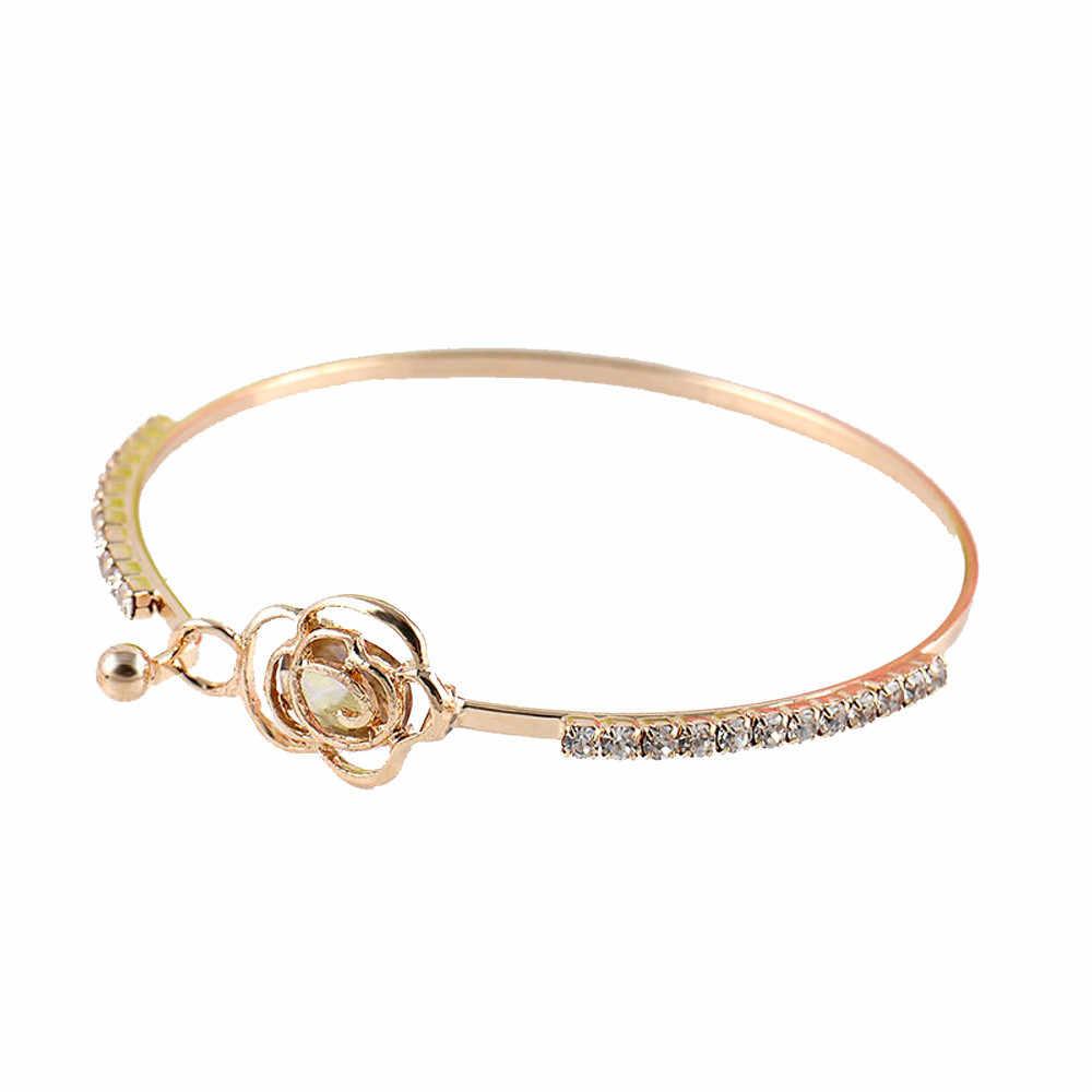 Stylowa biżuteria bransoletka femme manchette eleganckie damskie róża kryształowa kwiat bransoletka bransoletka ze stali nierdzewnej złoty pulsera #