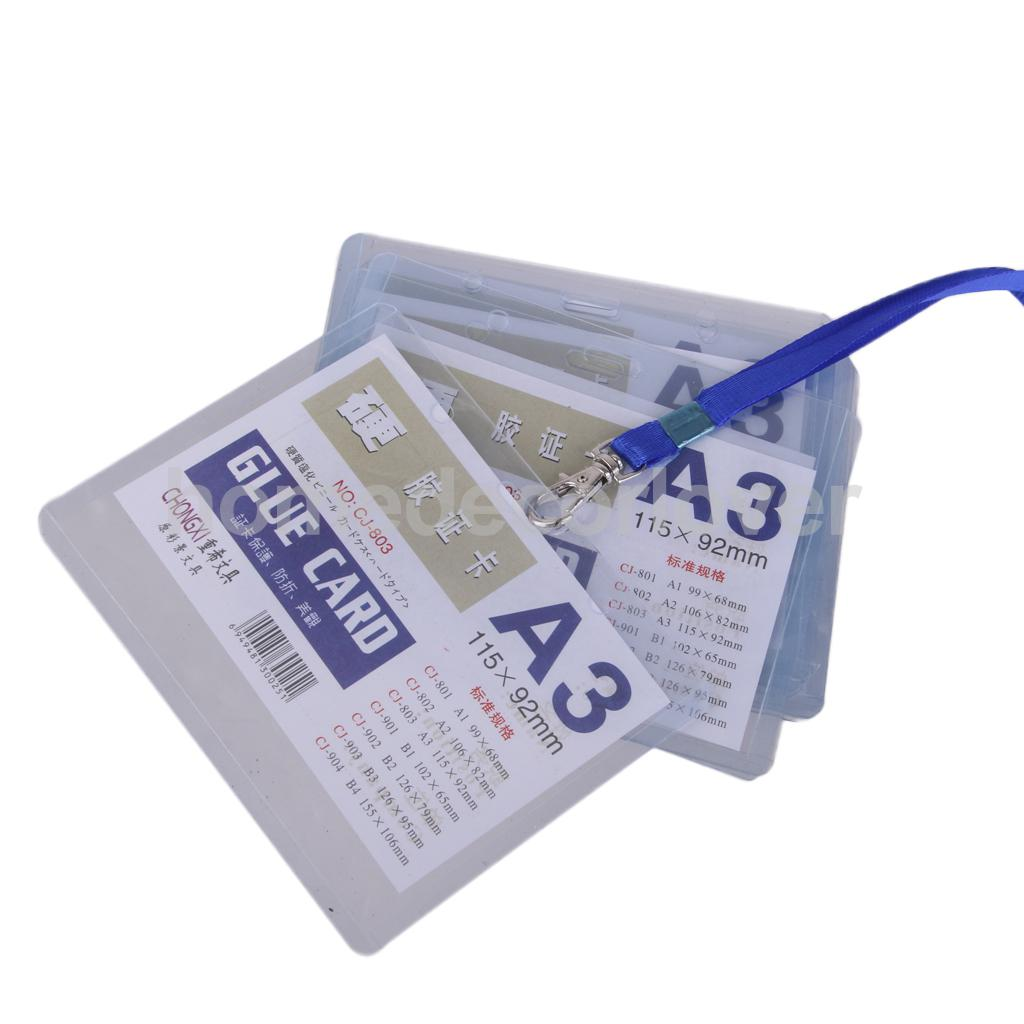 10 PCs Clear Plastic Vertical Waterproof Name Tag  Zipper ID Card Holder H JX