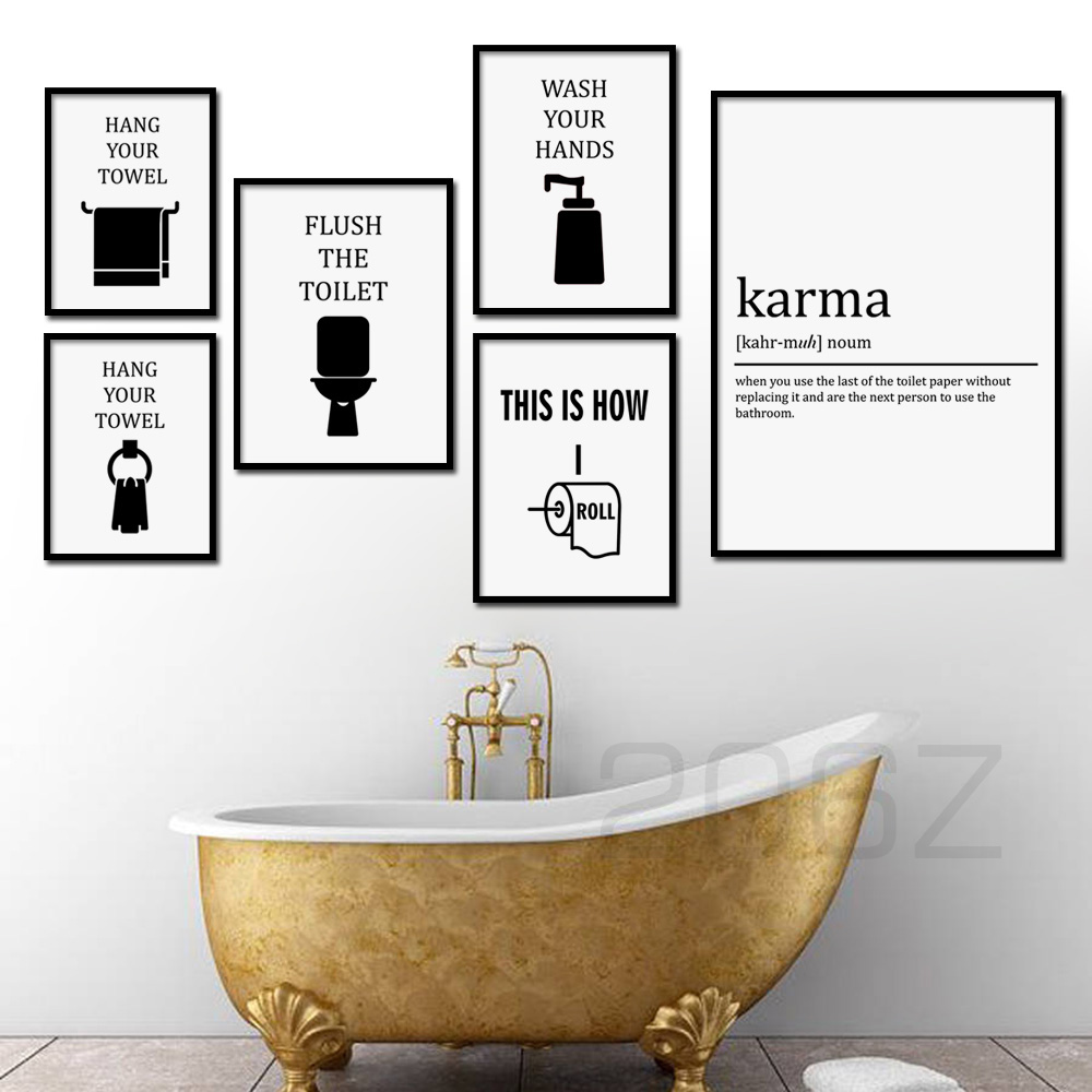 Nordic Poster Wall Art Canvas Painting Funny Flush the Toilet Paper Hand Your Towel Karma Print Wall Pictures For Bathroom Decor