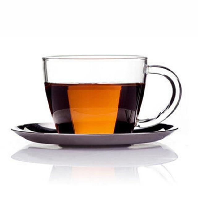 76e470f60a Handmade Lead Free Clear Glass Flower Tea Cup With Saucer Stainless Meeting  Coffee Milk Mug 150ml