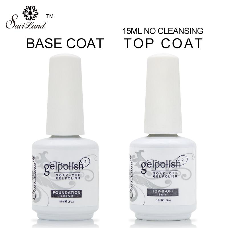 Saviland professional 15ml gelpolish nail base coat top coat soak off gel lacquer varnishes uv gel
