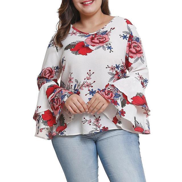 Плюс Размеры 4XL цветочный Цветочный принт блузка рубашка Для женщин v-образным вырезом с длинным рукавом Повседневное Туника Топы и блузки WS9317X