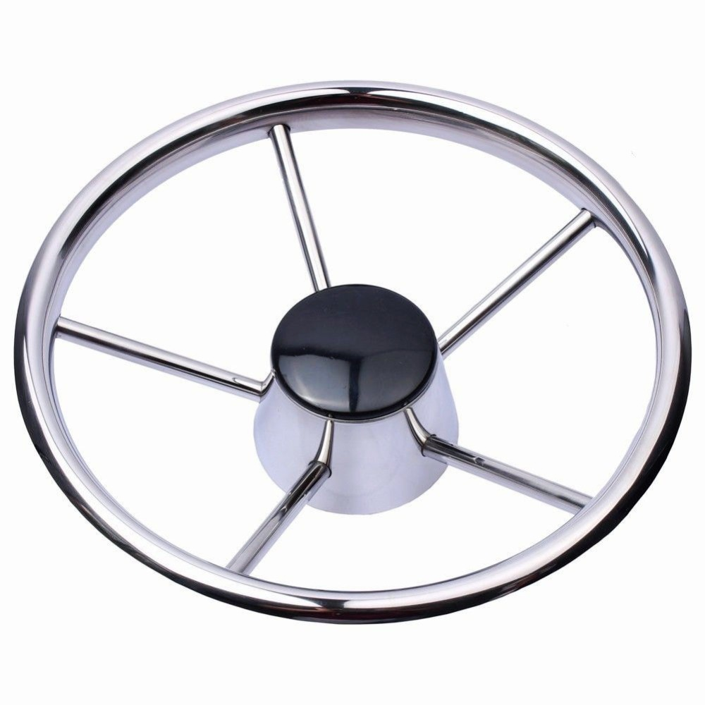 13-1/2'' Boat Stainless Steel Steering Wheel 5 Spoke 25 Degree For Marine Yacht
