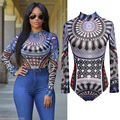 2017 New Fashion Sexy Womens Long Sleeve Bodysuit Bodycon Bandage Print Romper Top Blouse