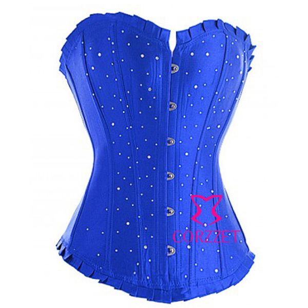 Hot Women Pleated Trim Blue Solid Satin Basque Sexy Shaper Waist Trimmer Corset Trainer Body Building Overbust Corselet +Thong
