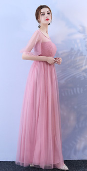 Bridesmaid Long Dress for Wedding Party Korean Version of  Woman red bean pink colour