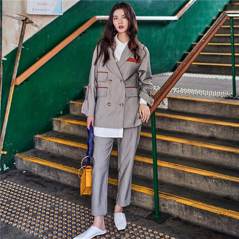 2017 new euramerican style Vintage asymmetrical pocket color block british style suit jacket wide leg pants overalls set casual