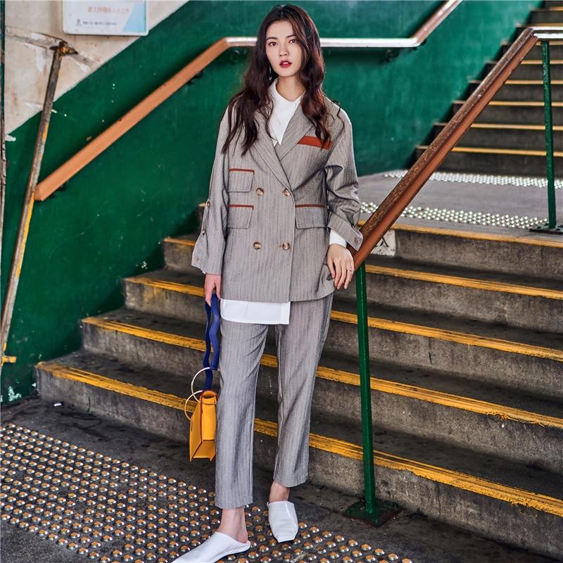2017 new euramerican style Vintage asymmetrical pocket color block british style suit jacket wide leg pants