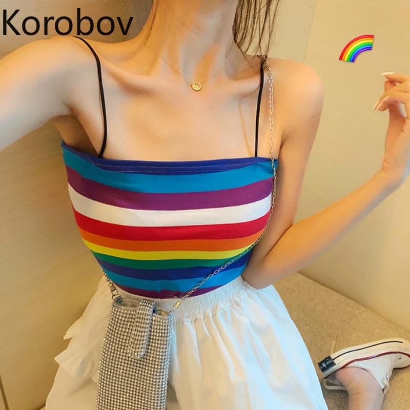 Tops & Tees Korobov Korean Rainbow Striped Patchwork Women Tank T Shirt Tops Preppy Style Summer Short Female Camis T Shirt 77640 Camis
