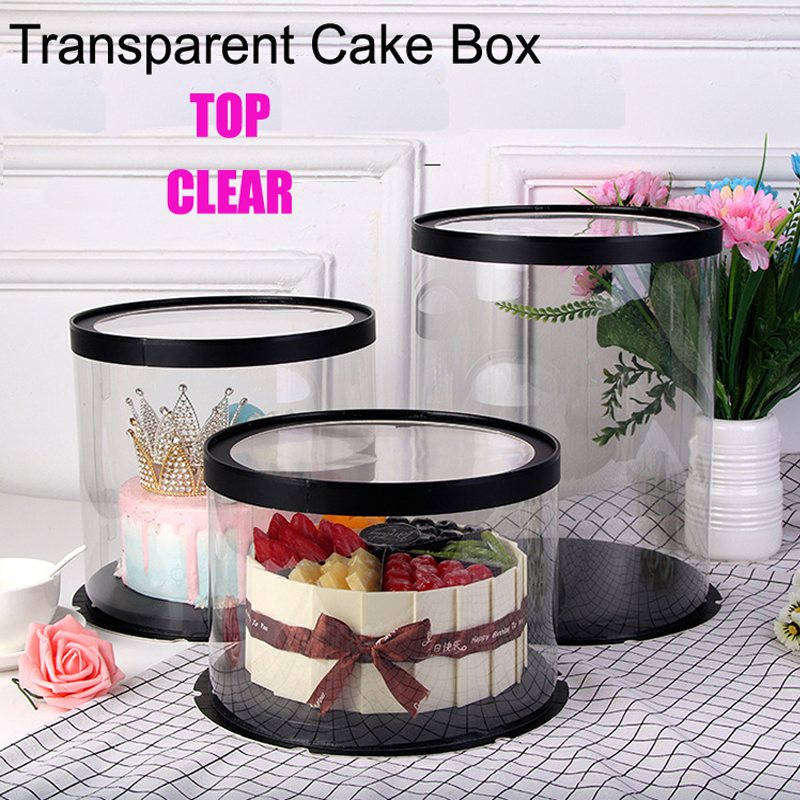 Top Clear Round Transparent 17 Inches Tall Cake Box For Cake Flower Gift Lovely Goods Storage Box Proposal Gift Flower Box