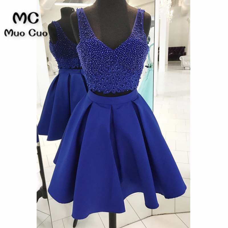 Royal blue satin two piece V neck halter short prom dress, mini beaded party dress