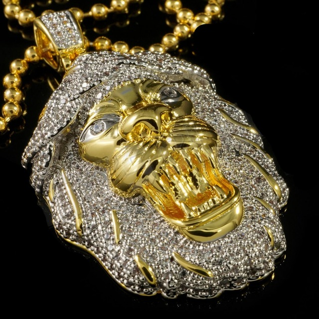 Factory custom cool mens jewelry 18k yellow gold bling mens lion factory custom cool mens jewelry 18k yellow gold bling mens lion pendant 28 gold chain mozeypictures Image collections