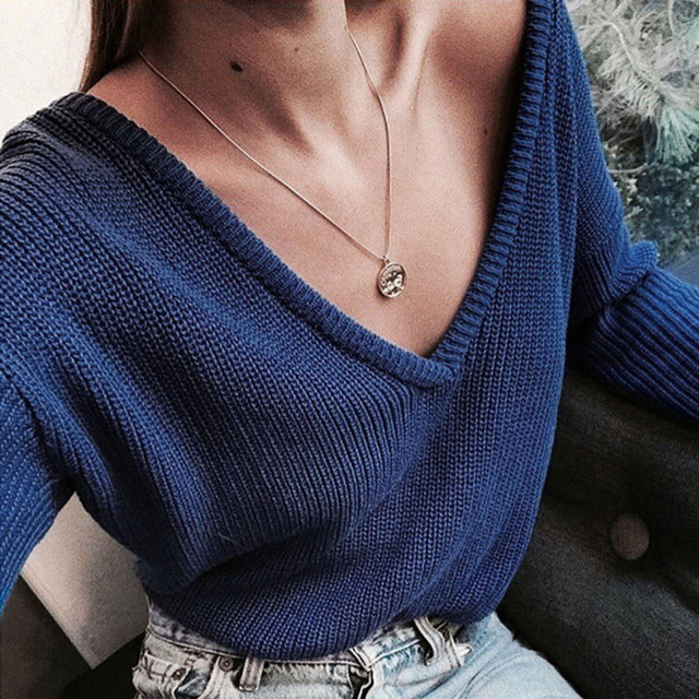 Women Casual Deep V Neck Knitted Sweater Jumper Tops Long Sleeve Pullover Women Solid Color Loose