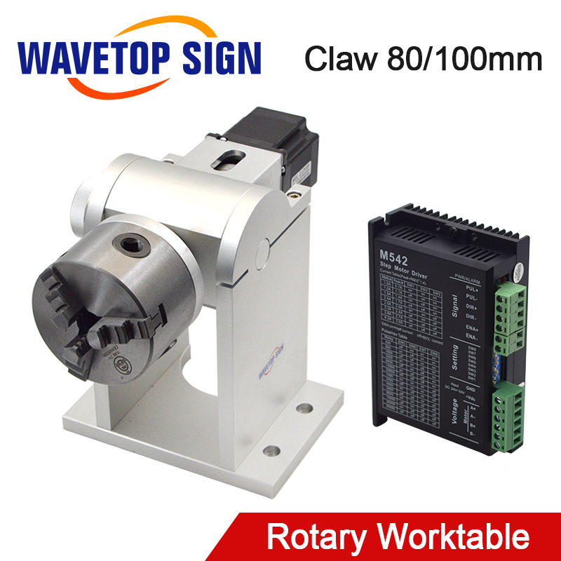 WaveTopSign Rotary Worktable With Chuck Dia.80 100mm 2 Phase Stepper Motor+Driver+Power Supply DC24V For Laser Marking Machine