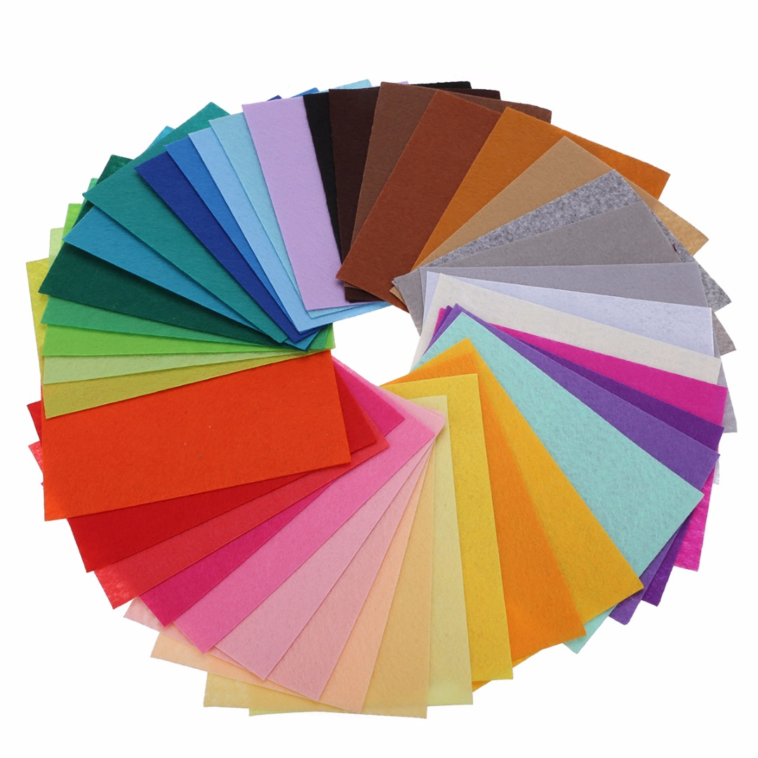 40Pcs Mixed Color Soft Nonwoven Felt Fabric Sheets 10x15cm DIY Craft Patchwork